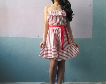 Vtg 70s 80s Striped  Ruffle Romper