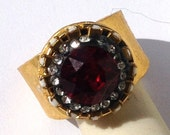 Halo ruby gold ring,thick ring,large stone ring,thick band ring, ring ruby red and gold statement ring hand set