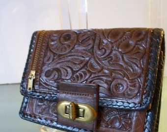 Vintage Mexico Tooled Leather Wallet