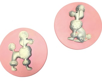 Pair of Vintage Glam Chalkware French Poodle Wall Plaques