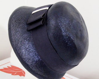 Vintage Navy Blue Straw Cloche With Large Bow