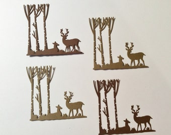 4 Deer and Trees Embellishments, 2 Deer on each, 3 Trees on each, 1 Standing, 1 Laying Down, Light Brown, Dark Brown, Sizzix, Cardstock, 3""