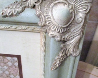 Provence Chalk Paint Frame French Wood Frame Vintage Wallpaper 11x14 Cottage French Linen Accents