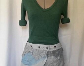 Adjustable mini pixie wrap skirt