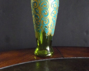 Lime Green and Blue Swirl Vase