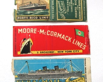 Three Antique Matchbooks Ocean Liners, 1930s 1940s, Cuba, Puerto Rico, Cruise Line, NYC, New York City, Ships