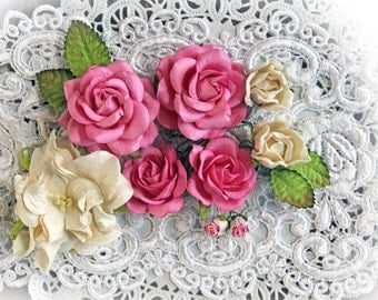 Reneabouquets Wild Roses, Gardenia And Leaves Flower Set-Mulberry Paper Flowers -  Pink And Ivory Set Of 13 Pieces In Organza Bag