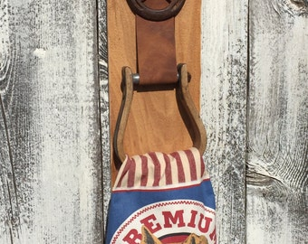 Western cowboy stirrup towel holder