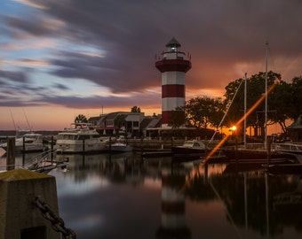 Hilton Head Lighthouse at Sunset - Harbour Town Lighthouse - South Carolina Photography