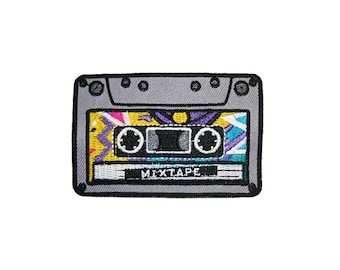 Mixtape Iron On Patch Embroidery Sewing DIY Customise Denim Cotton Cassette Hipster '80s Retro Geek Nerd Vintage