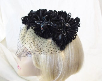 1960s Stunning Hat/Black Velvet Ribbon/ Black Sequin and Bead trim/a Marche Exclusive/Half Hat