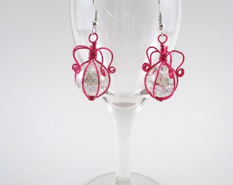 Pink Wire Wrapped Fried Marble Earrings, Sparkly, Curly Lamp Top