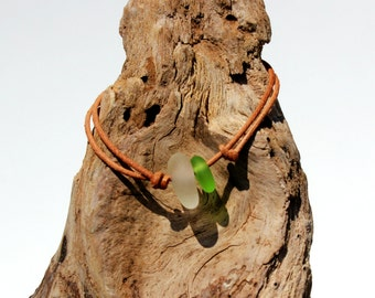 Hawaiian Lime Green Beach Glass and Clear Beach Glass on India Leather Cord Completely Adjustable & Stackable Bracelet