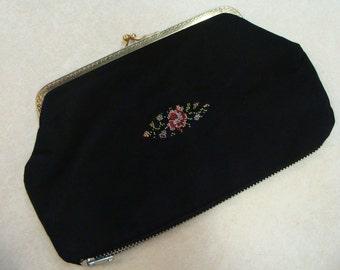 nos VINTAGE COSMETIC CLUTCH bag pocketbook needlepoint black