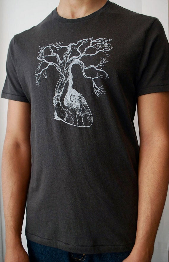 Anatomical Heart Tree Tee Mens Organic Cotton T Shirt