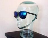 Vintage 80s Classic Eye Gear RARE Opti Ray Horned Rim Black Plastic Eye Glasses Mad Men Retro