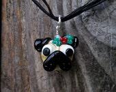 Holly Pug - Glass Christmas Pendant