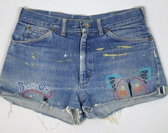 60s Hippie Embroidered Butterfly 'Buzz Off' Indigo Wash Selvedge Denim Cut-off Jean Shorts W 33