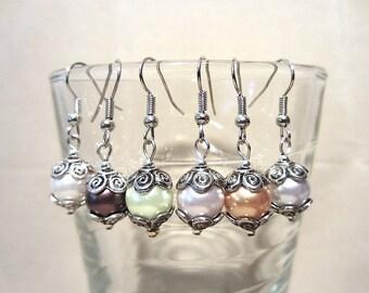 Colored Pearls & Swirls Dangle Earrings, Handmade Original Fashion Jewelry, Classic Sophisticated Elegant Trendy Ladies Gift, Custom Wedding