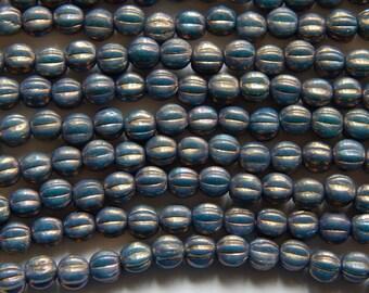 5mm Oxidized Bronze - Czech Pressed Fluted Melon Glass Beads, 25 PC (INCM480)