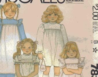 Vintage Dress Pattern - McCalls Girls Prairie Style Dress Pattern - 1980s Pattern for Long or Short Dress with Ruffles - Size 6 Chest 25