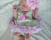 Parley Ray Pink & Green Vintage Rose Pinafore Dress with Ruffled Baby Bloomers/ Diaper Cover / Photo Props