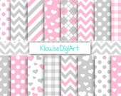 Baby Pink and Gray Printable Digital Paper Pack with Chevrons, Gingham and Argyle for Personal and Small Commercial Use (0020)
