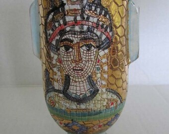 Vintage Handpainted DERUTA Italian Ceramic Art Pottery Majolica Byzantine Portrait Bird Mosaic Vase