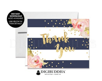THANK YOU CARDS Folded A2 Thank You Cards Wedding Thank You Bridal Shower Thank You Baby Shower Thank You Printed Thank You Cards - Krissy