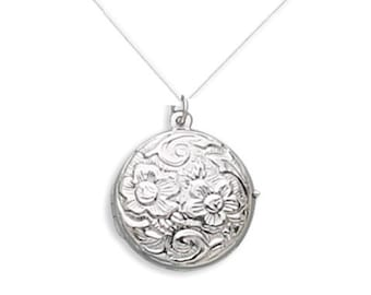 Sterling Silver ENGRAVED Vintage Antique Style Round Floral Design LOCKET with Necklace