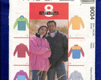McCall's 9004 Pullover Shirts with Zipper Neckline to Stand Up Collar Size Small