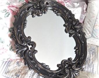 SUMMER SALE Shabby Ornate Black Velvet Oval Ornate Fancy Unique Baroque Florentine Wall Mirror Romantic Cottage Chic