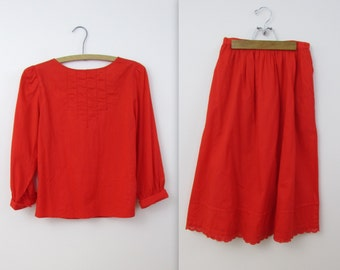 Holly Red 2 Piece Dress Set - Vintage 1970s Full Skirt and Top in xSmall Small by Eaton