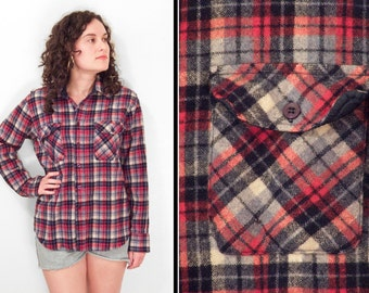 Wool FLANNEL Shirt // 1970s Country Touch // Plaid Red White Blue Size M