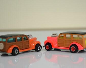 1979 California Customs Woody Hot Wheels Cars - Orange & Fluorescent Pink