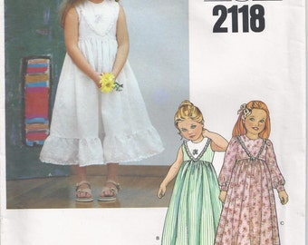 Pullover High Waisted Dress With Fitted Bodice And Flared Skirt Girls Size 6 Children's Sewing Pattern Little Vogue 2118
