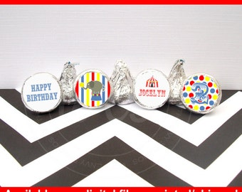 Circus Chocolate Kiss Stickers - Carnival Stickers - Circus Candy Stickers - Circus Stickers - Digital & Shipped Available