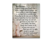 Velveteen Rabbit Quote Margery Williams, You Become Literary Print, Inspirational Quote, Baby Decor, Nursery Decor Large Wall Art Fine Art