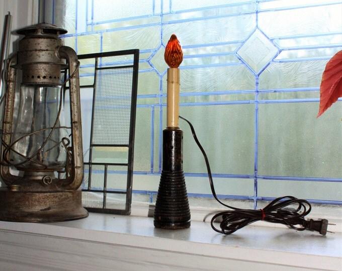 Vintage Wood Bobbin Candlestick Lamp Farmhouse Decor
