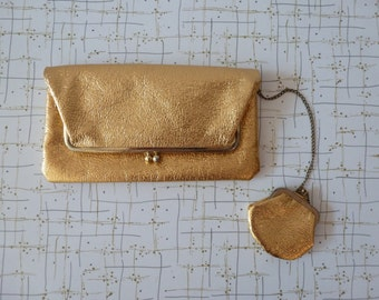 60's Metallic Gold Envelope Clutch with Chain Attached Coin Purse