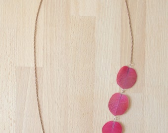 Natural Flower Jewelry - Fuchsia Bougainvillea Pressed Flower Petal Necklace