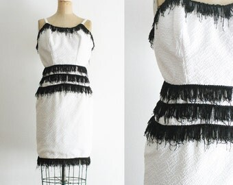Vintage Homemade Flapper Dress Black and White Flapper Dress Black and White Dress Fringe Dress White Fringe Dress Flapper Costume XS
