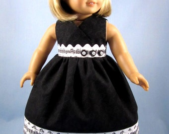 Doll Clothes fit American Girl - 18 Inch Doll Clothes - Black and White Musical Notes - Sundress and Hair bow - Florrie
