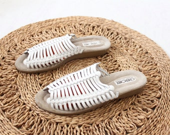 white woven leather sandals / 7.5