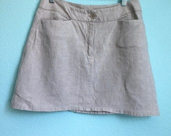 vintage 90s natural linen A-line skirt / womens size small to medium / size 8