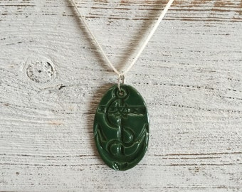 Ceramic Anchor Pendant, Kelly Green, Nautical, Unique Gift, Anchor Jewelry, Preppy, Gift for Her, Ceramics, Ocean, Ceramic Jewelry