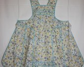 Vintage 1940s Style Full Apron - Smock, Pinafore - Floral - Blue, Gray, Yellow Circles