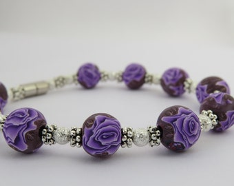 Purple Rose Bracelet, Purple bracelet, Purple jewelry, Handmade, unique, Bracelet, Polymer clay bracelet.