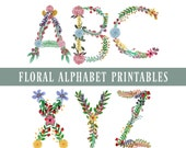 Watercolor Floral Alphabet & Numbers Printables, Letters A-Z, 0-9, punctuation. Digital Download. Wall Art, Banners, Garlands, Monograms