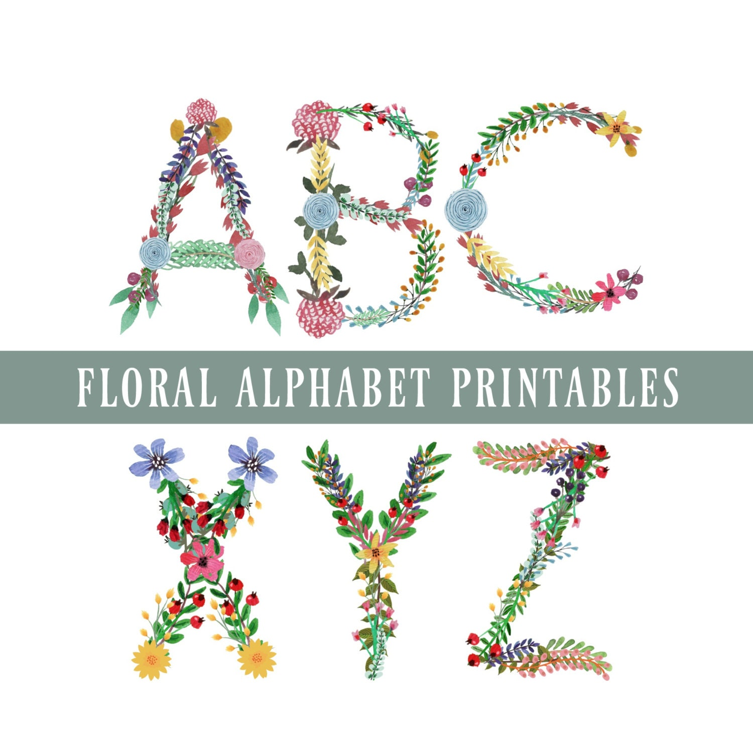 Floral Alphabet & Numbers Printables Letters A to Z 0 to 9